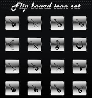 Instrumentos de corda vetoriais flip ícones mecânicos para design de interface de usuário