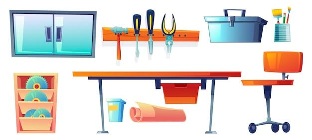 Instrumentos de garagem, ferramentas para trabalhos de carpintaria