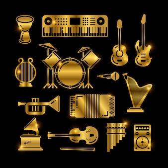 Instrumentos de música clássica dourada brilhante, ícones de silhuetas