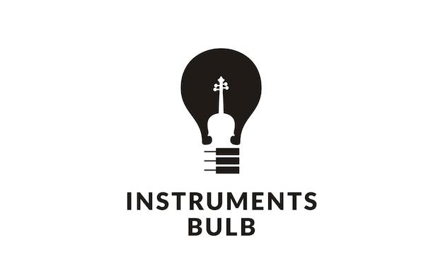 Instrumentos de música e logotipo da lâmpada
