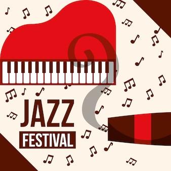 Instrumentos do festival de jazz notas de música de tabaco de piano vermelho