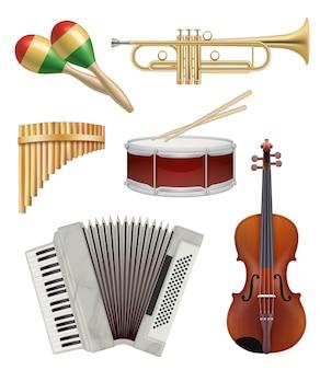 Instrumentos musicais. coleção de itens de áudio para ilustrações vetoriais de bandas de música pop ou rock jazz