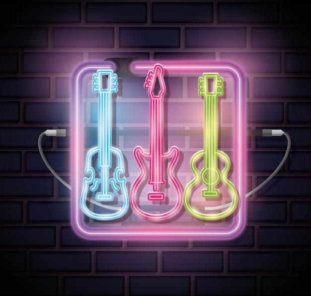 Instrumentos musicais com luzes de néon defina ícones
