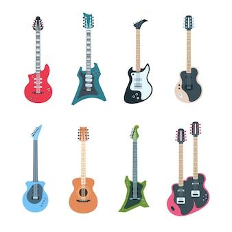 Instrumentos musicais de cordas acústicos e elétricos planos de diferentes tipos de design