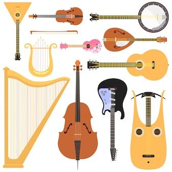 Instrumentos musicais de cordas definem a ferramenta de som de arte de orquestra clássica e equipamentos de madeira de violino acústico de sinfonia.
