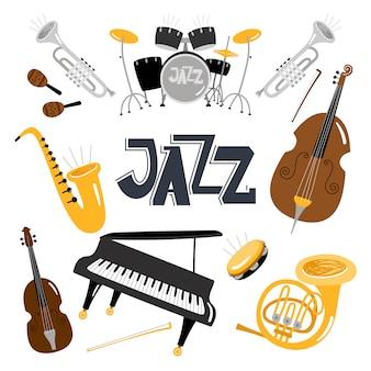 Instrumentos musicais de jazz.