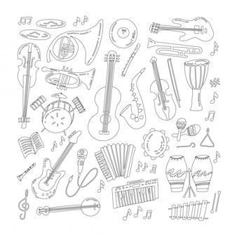 Instrumentos musicais de mão desenhada doodle