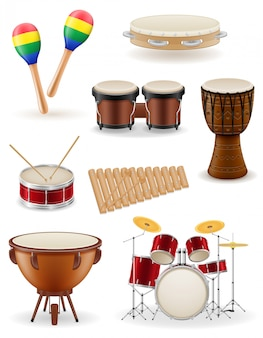 Instrumentos musicais de percussão conjunto ilustração vetorial de estoque