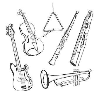 Instrumentos musicais desenhados à mão