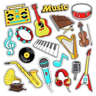Instrumentos musicais doodle para álbum de recortes, adesivos, patches, emblemas com guitarra, bateria e vinil.