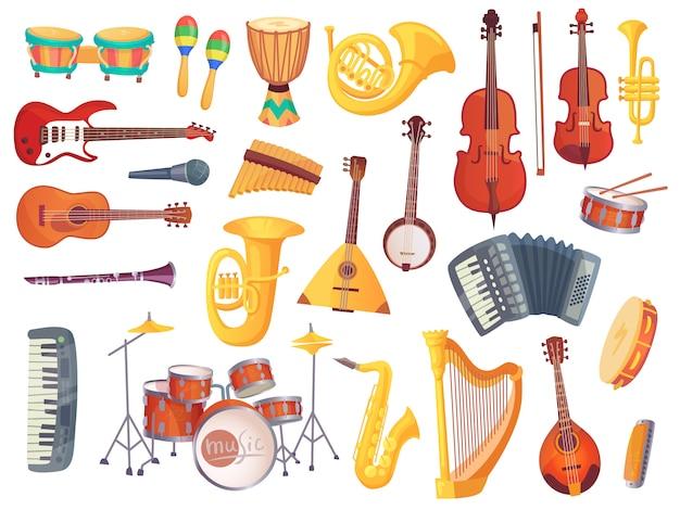 Instrumentos musicais dos desenhos animados, guitarra, cilindros de bongo, violoncelo, saxofone, microfone, kit de bateria isolado. coleção de vetores de instrumento de música