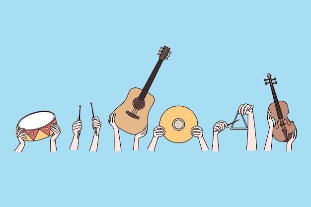 Instrumentos musicais e conceito de artes criativas