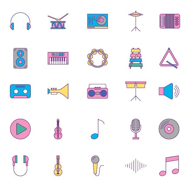 Instrumentos musicais e conjunto de ícones