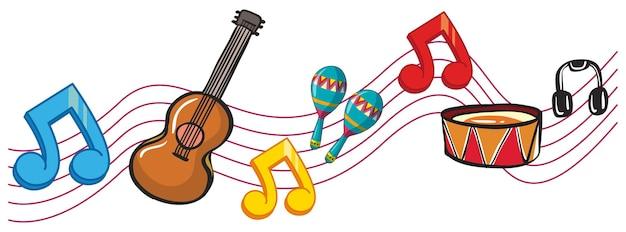 Instrumentos musicais e notas musicais de fundo