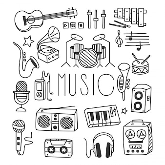 Instrumentos musicais em estilo handdrawn
