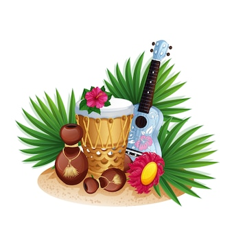 Instrumentos musicais havaianos, folhas de palmeira e hibisco.