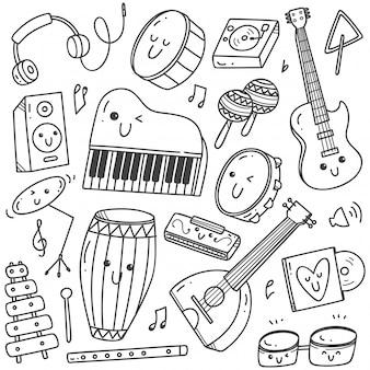 Instrumentos musicais kawaii doodle linha artística