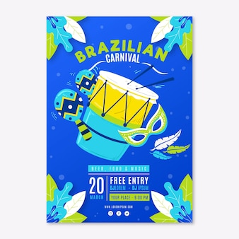 Instrumentos musicais mão desenhada panfleto de festa de carnaval brasileiro