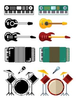 Instrumentos musicais, silhuetas planas ícones isolados no fundo branco