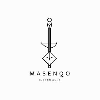 Instrumentos musicais tradicionais da etiópia logotipo ícone design modelo plana vetor