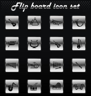 Instrumentos musicais vetoriais ícones flip mechanical para design de interface de usuário