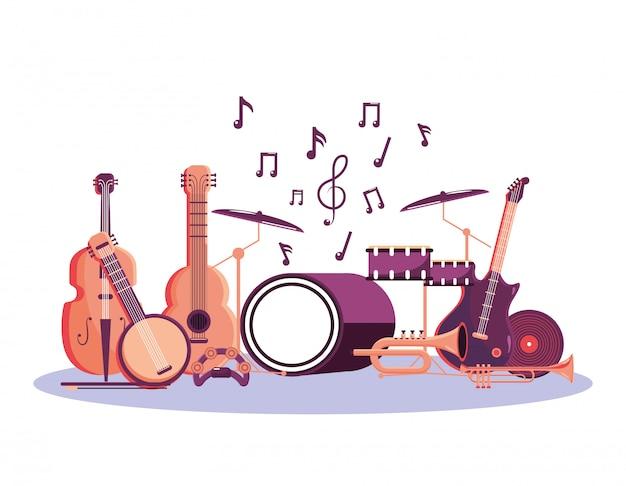 Instrumentos profissionais para a celebração do festival de música