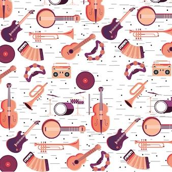 Instrumentos profissionais para o fundo do festival de música