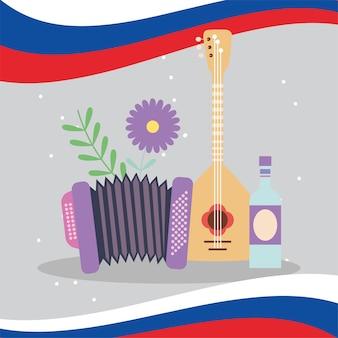 Instrumentos russos e licor com bandeira