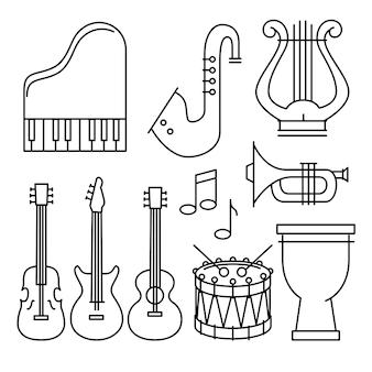 Instrumentos tropicais conjunto de ícones