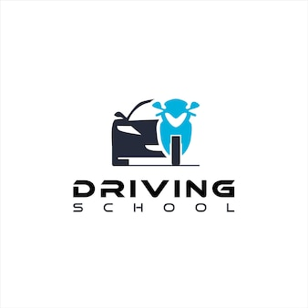 Instrutor de carro e bicicleta com logotipo da drive school