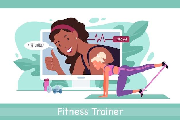 Instrutor de fitness online, treino esportivo com jovem ativa no treinamento de roupas esportivas