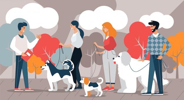 Instrutor e equipe de criadores de cães com cães. passatempo.