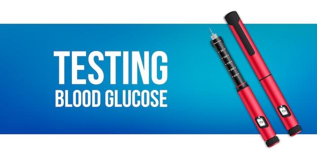 Insuline canetas equipamentos, teste de sangue nível de glicose.