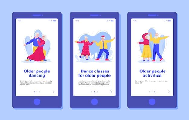 Integração para idosos nas aulas de dança ilustração plana dos desenhos animados