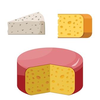 Inteiro e parte de casa de campo do queijo isolada no branco. laticínios lácteos. alimentos saudáveis orgânicos.