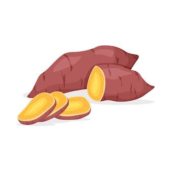 Inteiro e pedaço de batata-doce isolado.