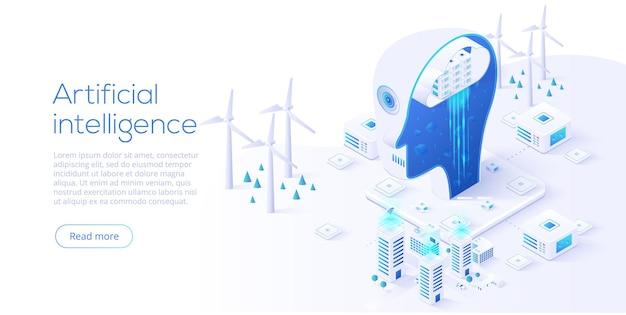 Inteligência artificial analisando o conceito de cidade inteligente