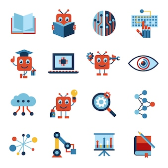 Inteligência artificial auto-aprendizagem coleção de ícones