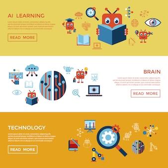 Inteligência artificial auto-aprendizagem coleção ícone