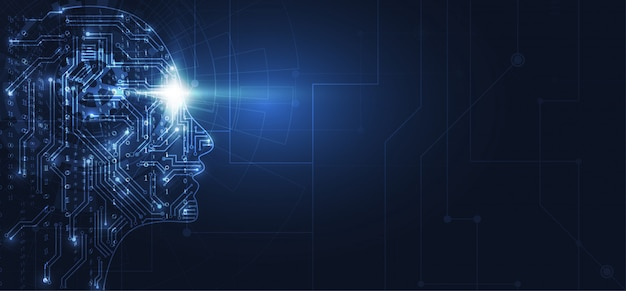 Inteligência artificial. cabeça humana geométrica abstrata