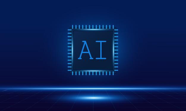Inteligência artificial, chipset ai na placa de circuito,