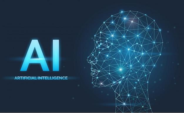 Inteligência artificial, conceito de ia, redes neurais, silhueta de rosto