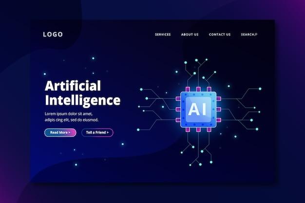 Inteligência artificial da página de destino do modelo