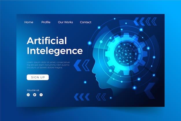 Inteligência artificial do modelo da página de destino