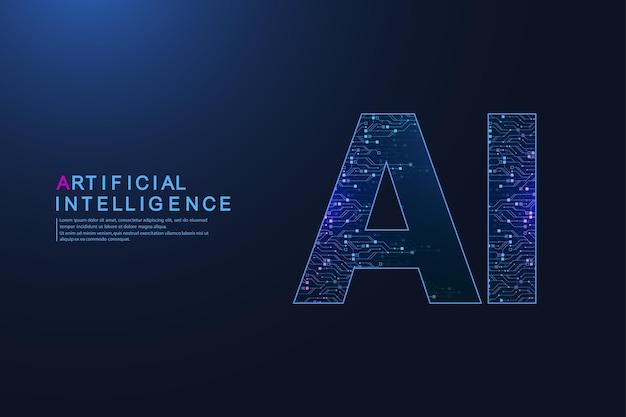Inteligência artificial e símbolo de vetor de aprendizado de máquina. projeto de tecnologia sem fio de inteligência artificial. conceitos de redes neurais e tecnologias modernas.