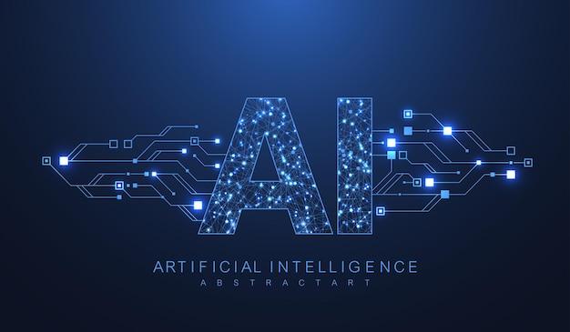 Inteligência artificial e símbolo de vetor futurista de conceito de aprendizado de máquina. projeto de tecnologia sem fio de inteligência artificial. conceitos de redes neurais e tecnologias modernas.