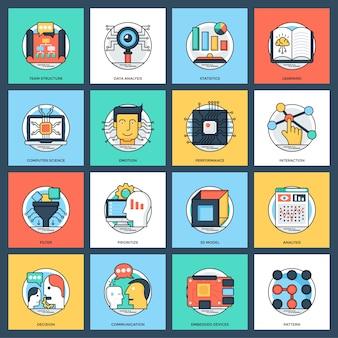 Inteligência artificial flat vector icons