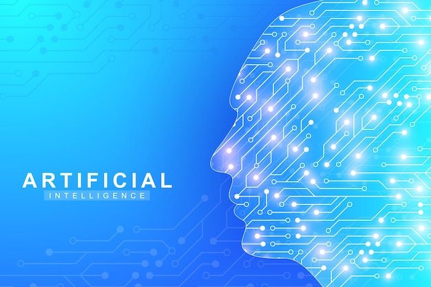 Inteligência artificial futurista e conceito de aprendizado de máquina. visualização de big data humano. comunicação de fluxo de onda, ilustração vetorial científica. Vetor Premium