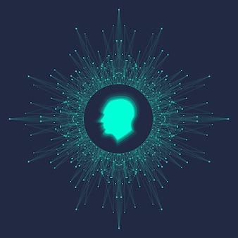 Inteligência artificial futurista e conceito de aprendizado de máquina. visualização human big data. comunicação de fluxo de onda, ilustração vetorial científica.