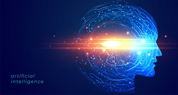 Inteligência artificial futurista face fundo de tecnologia